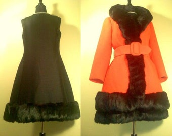 1960s Vintage Lilli Ann Couture Red Wool Princess Coat with Black Fox Fur Trim and Matching Black Dress with Black Fox Trim