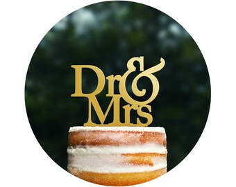 Dr And Mrs Cake Topper Wedding Cake Topper Engagement Party Acrylic Cake Topper Chicago Factory Custom Cake Topper Wedding Shower - (T067)