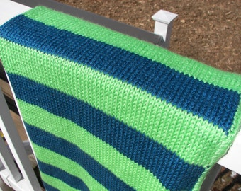 Blue and Green Blanket - Striped Baby Blanket - Knit Blanket - Handmade - Hand knit - Soft Yarn - Baby Shower Gift - Heirloom - Warm