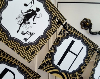 20s party banner, 20s banner, roaring 20s, roaring 20s banner, roaring party banner, great gatsby banner, great gatsby party, happy birthday