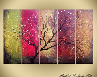 Canvas Original Acrylic Painting Modern Landscape Multi Piece Art Red Green Gold Brown Tree Branches Made To Order