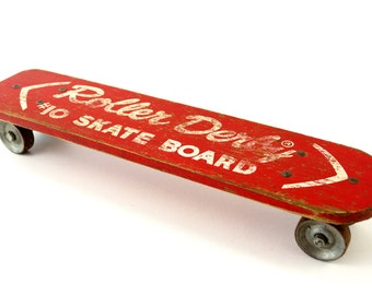 Vintage Roller Derby Skate Board in Red, Wood Skateboard with Steel Wheels (c.1950s) - Collectible, Unique Shelf, Retro Toy Collectible