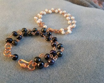 Freshwater Pearl and Copper Wire Double-Stranded Bracelet