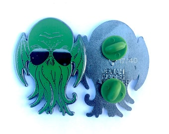 """limited edition Coolthulhu cthulhu glow in the dark black nickle 1.7"""" double posted enamel hat pin"""