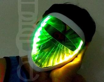 Original Liquid FX Dj Light Up Mask RGB LED Props Mask Futuristic Ai Robot Face Cosplay Cyber Bot Head Costume Helmet Gigs Dance Rave Mask