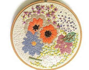 Flowers, Hoop Art, Embroidery Hoop, Wall Art, Floral Hoop, Hand Embroidery, Hanging Embroidery, Pretty Decor