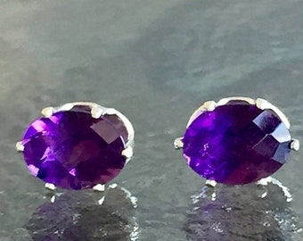 Memorial Day Sale Amethyst African 8x6mm 3ctw Sterling Silver Studs
