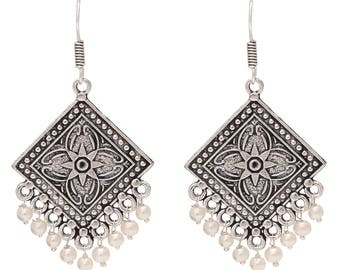 SMILING SILVER White Oxidised Silver Plated Jhumki Earrings for Women