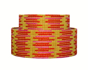 Mid Century Lamp Shade - Tier Lampshade - Vintage Fabric - Bohemian - Drum Shade - Pink and Orange - Stripes - Custom - Modern Decor
