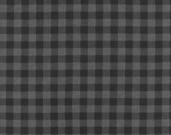 Burly Beavers by Andie Hanna - Plaid Fabric from Robert Kaufman  -  Grey and black Checkers AHE-15995-184 Charcoal