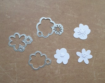 Die cut Stencil matrix Sizzix Nature three rounded flowers