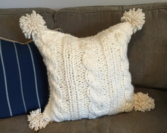 "Chunky Cable Knit Pillow Cover with Pom Poms, 18""x 18"""