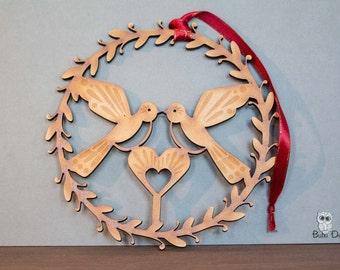 Turtle doves - Hanging wreath decoration - love birds wreath - turtle dove heart