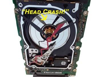 "Laptop Hard Drive on a Circuit Board Clock, Unique. ""Head Crashed"" Disk Platter. Geek Gift, Gifts for Him, Corporate Award, Company Gift."