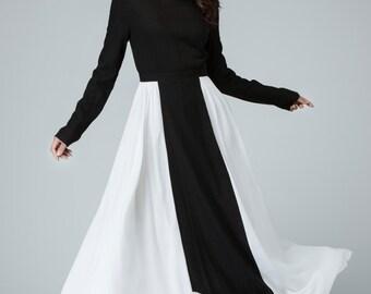 Black and white dress, linen dress, maxi dress, long womens dresses, party dress, evening dress, fall dress, prom dress, gift ideas  1452