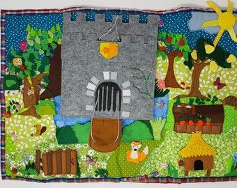 Castle play mat, roll up quiet play mat, quiet book, imaginative play, pretend play mat