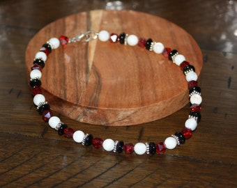 Bright Red, White and Black Anklet