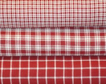 Homespun Fabric | Cotton Sewing Fabric | Wine And White Fat Quarter Fabric Bundle | Woven Homespun Fabric | Rag Quilt Fabric | Craft Fabric