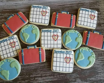 Save the Date Travel Cookies (45 cookies, luggage, globes and calendars)