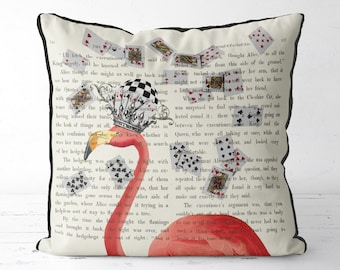 Alice in wonderland pillow cover - Pink Flamingos pillow Pink Flamingos cushion - alice in wonderland decor Pink Flamingo print decorations