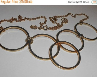 SAVE 50% Vintage AVON Gold Tone 5 Linked Open Circle Front Drop Adjustable Chain Link Necklace
