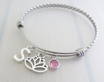 Lotus Flower Charm Stainless Steel Bangle, Birthstone Initial Bangle, Personalised Silver Letter Charm Bracelet, Nature Plant Gift