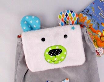 Sac à dos enfant première rentrée école maternelle personnalisable couleurs prénom Victor ours polaire sac bébé ours blanc personnalisé