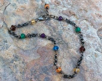 Multi GEMSTONE bracelet, stacking bracelet, sterling silver bracelet Garnet green Onyx Citrine Amethyst stacking bracelet, handmade bracelet