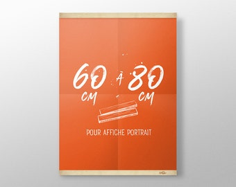 Grip Poster sur mesure de 60 à 80 cm | Porte affiche en bois, Cadre sérigraphie, Cadre poster, Cadre photo, Cintre affiche film