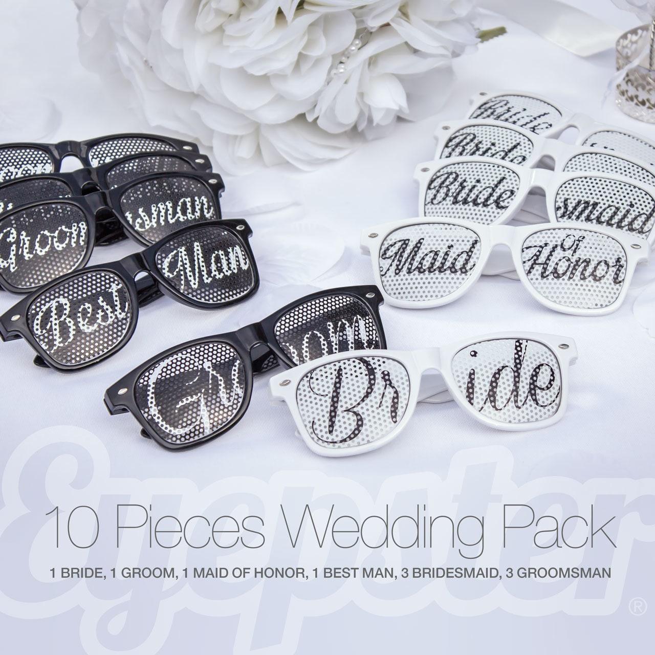 10pcs Retro Party WEDDING SUNGLASSES PACK (Bride, Groom, Maid of Honor, Best Man, Bridesmaid, Groomsman)