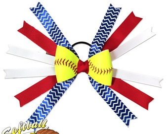 Softball Hair Bow - Red Blue White Chevrons
