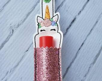 Sparkly Rose Pink Unicorn Lip Balm Chapstick Holder Keychain