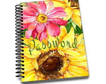 Password Book | Sunflower | Premium Password Logbook | Online Organizer | Protect Sensitive Information | 5 x 8 Inches | Spiral Bound