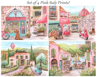 Italy Travel Theme Girls Bedroom Decor, Tuscany, Florence, Rome, Lake Como, Set Of 4 Personalized With Baby Girls Name, Baby shower Gift