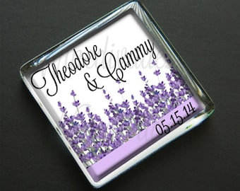 50 - NEW LARGER SIZE  Personalized Wedding Favor Magnets - Sweet Lavender - 1 7/8 Inch Square Glass Magnets