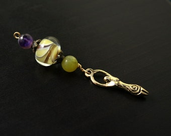 Amethyst and Olive Serpentine Golden Petals Birth Goddess Blessingway bead - Blessing, baby shower gift, pregnancy gift, pendant, doula gift