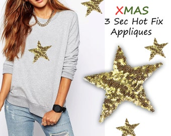 3 Iron On Christmas Shiny Stars Appliques.