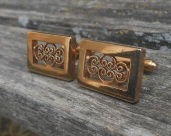 Vintage 14k Gold Plated Cufflinks. Wedding, Groom, Groomsmen, Birthday, Men's Christmas Gift, Dad. Anniversary. Father's Day