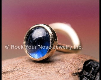 Sapphire and Gold Nose Stud - 14K Solid Yellow Gold with Natural Sapphire - CUSTOMIZE