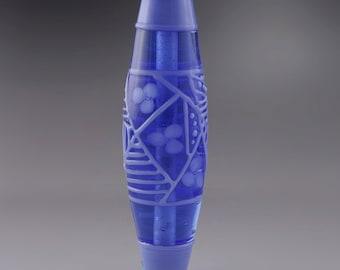 SRA Lampwork Glass Bead Artisan Lampwork Bead Art Glass Bead Perinkle Blue Floral Bicone Focal Bead OOAK Art Deco Heather Behrendt 3555