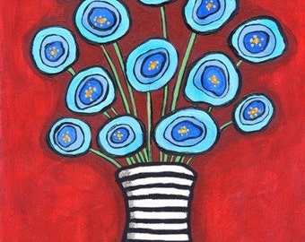 Blue Poppies  striped vase Shelagh Duffett Print