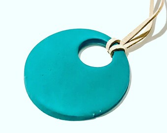 Teal Pearl Clay Necklace