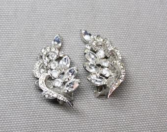 Vintage Signed Weiss Formal Rhinestone Clip Earrings