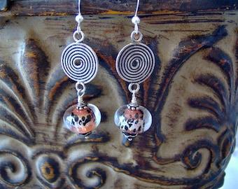 Lampwork and Sterling Silver Earrings - Animal Print Black and Orange Artisan Lampwork Beaded Sterling Silver Earrings
