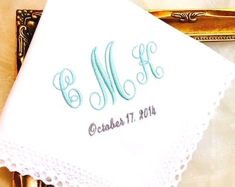 WEDDING HANDKERCHIEF - Embroidered and Monogrammed Gift for Bride  - WEDDINGKeepsake - Hankerchief, Hankies, Hanky