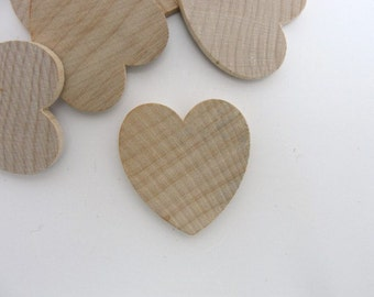 """50 Wooden hearts 1 1/4 inch (1.25"""") wide 1/8 inch thick unfinished wood hearts diy"""