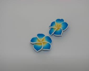 2 beads pressed blue yellow - Ref: PF 702