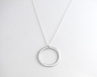 Simple Silver Hoop Necklace, Silver Circle Pendant, Simple Silver Necklace, Silver Hoop Pendant, Minimalist Necklace - Sterling Silver Chain