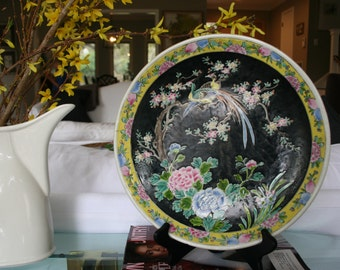 Vintage Nippon plate with tropical birds | yellow, black, green pink | birds of paradise and peonies | Chinoiserie | Japanese ceramic plate