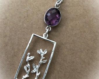 Purple Amethyst Necklace,Leaf Pendant,Purple Gemstone Necklace,Minimalist Silver Gemstone Necklace,February Birthstone Necklace,Women,Girls
